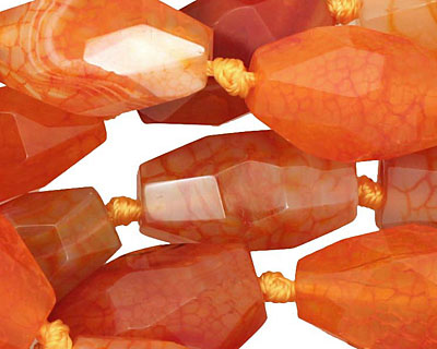 Orange Agate Faceted Rice 22-23x13-14mm