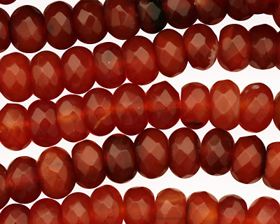 Carnelian Faceted Rondelle 8mm