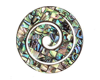 Abalone Spiral Pendant 40mm