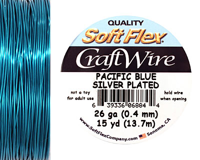 Soft Flex Silver Plated Pacific Blue Craft Wire 26 gauge, 15 yards