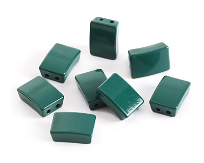 Emerald Enamel 2-Hole Tile Rectangle Bead 12x8mm