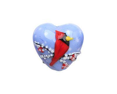 Grace Lampwork Winter Red Cardinal Heart 19-20mm