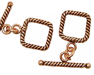 Antique Copper Square Rope Toggle Clasp 15mm, 25mm Bar