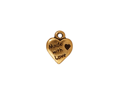 TierraCast Antique Gold (plated) Made with Love Heart Charm 10x12mm