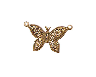 Stampt Antique Copper (plated) Etched Butterfly Connector 24x18mm