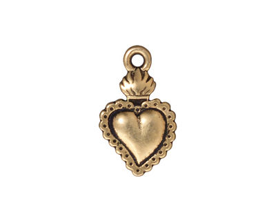TierraCast Antique Gold (plated) Sacred Heart Milagro 14x22mm