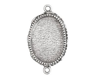 Nunn Design Antique Silver (plated) Large Ornate Oval Bezel Link 39x23mm