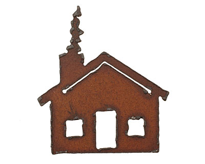 The Lipstick Ranch Rusted Iron Cottage Pendant 50x56mm