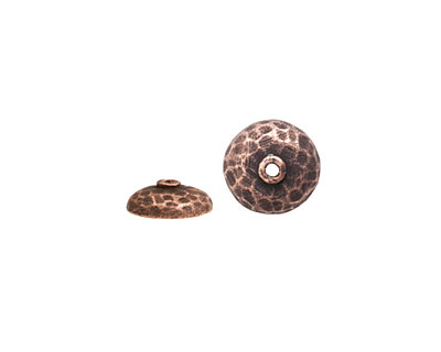 Nunn Design Antique Copper (plated) Hammered Bead Cap 4x11mm