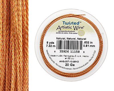 Twisted Artistic Wire Natural 20 gauge, 8 yards
