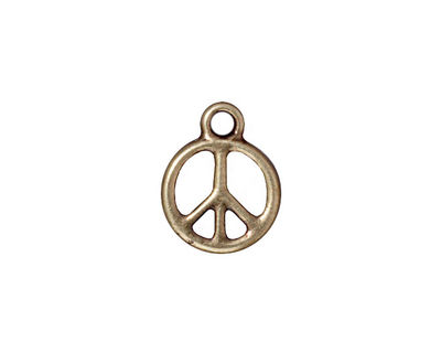 TierraCast Antique Brass (plated) Small Peace Charm 12x16mm