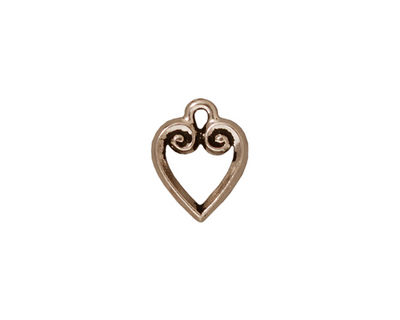 TierraCast Antique Silver (plated) Heart Charm 10x13mm