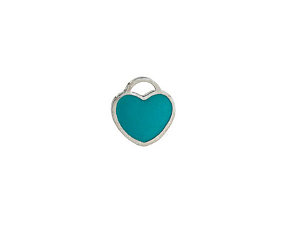 Turquoise Enamel Stainless Steel Heart Charm 11x12mm