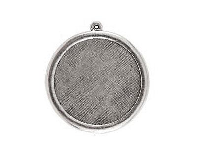 Nunn Design Antique Silver (plated) Framed Large Circle Pendant 38x41mm