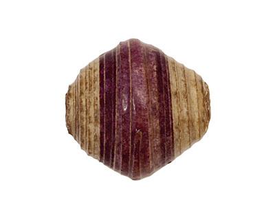 African Paper (eggplant, beige) Bicone 25x22-23mm