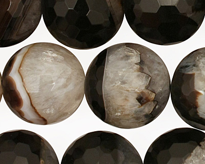 Black Sardonyx Faceted Round 16mm