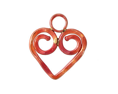 Patricia Healey Copper Spiral Heart 23x27mm