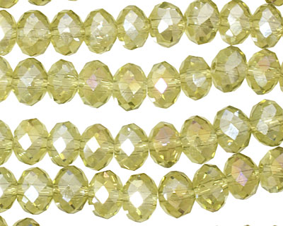 Green Tea AB Crystal Faceted Rondelle 8mm