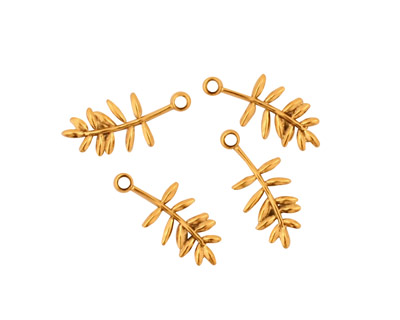 Stampt Antique Gold (plated) Olive Branch Charm 6x15mm
