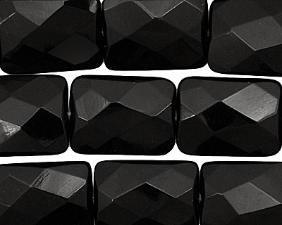 Black Onyx Faceted Thin Pillow 20x15mm