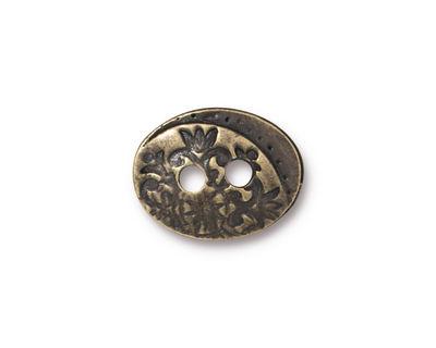 TierraCast Antique Brass (plated) Floral Button 17x13mm