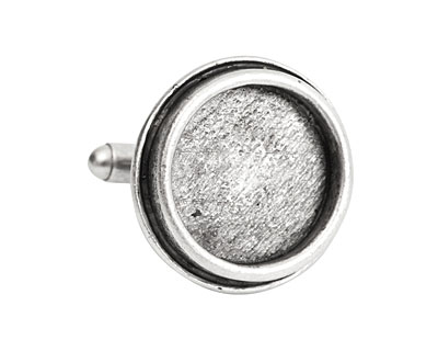 Nunn Design Antique Silver (plated) Traditional Circle Bezel Cuff Link 22mm