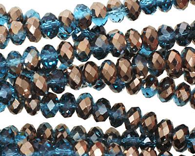 Capri Blue & Oiled Bronze Crystal Faceted Rondelle 6mm