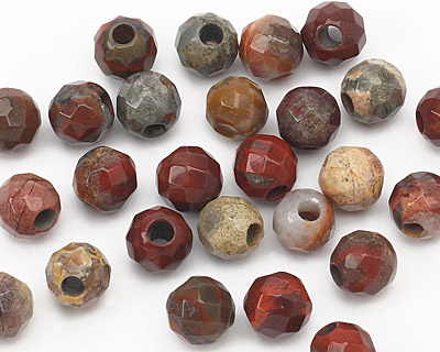 Apple Jasper Faceted Round (Large Hole) 8mm