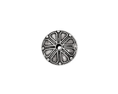 Pewter Roped Rondelle w/ Teardrops (Large Hole) 14x20mm