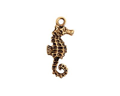 Nunn Design Antique Gold (plated) Seahorse Charm 9.5x24mm