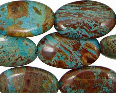 Blue Calsilica Jasper Flat Oval 25x15mm