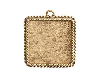 Nunn Design Antique Gold (plated) Large Ornate Square Bezel Pendant 30x34mm