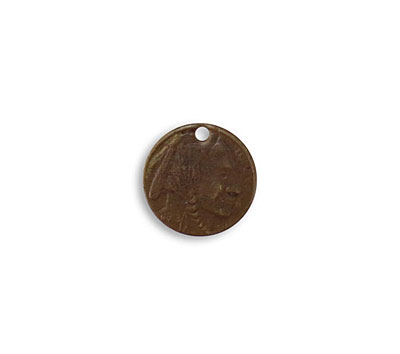 Vintaj Natural Brass Brave Indian Coin 13mm