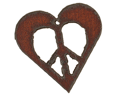 The Lipstick Ranch Rusted Iron Peace Heart Pendant 45mm
