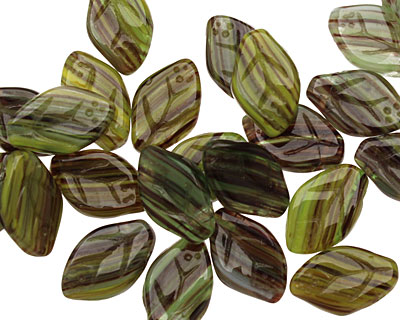 Czech Glass Citrus Zest Leaf Drop 8x12mm
