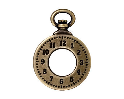 TierraCast Antique Brass (plated) Clock Toggle Ring 20x29mm