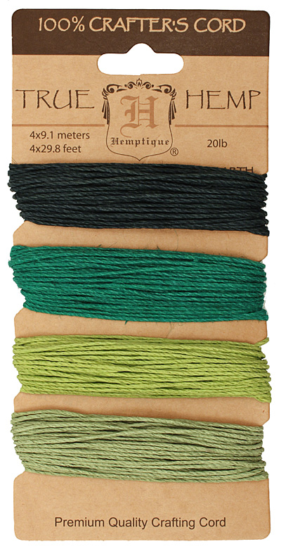 Shades of Emerald Hemp Twine 20 lb, 29.8 ft x 4 colors