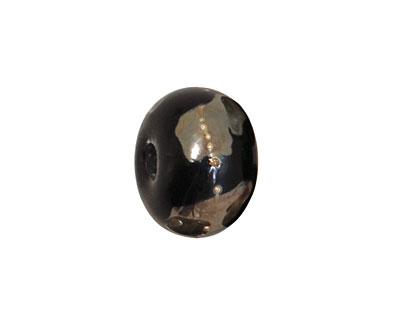 Grace Lampwork Elegant Black Metallic Rondelle 9x14mm