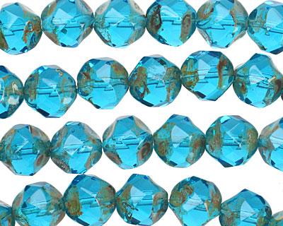 Czech Glass Coastal Blue Picasso Chandelier Cut 8mm