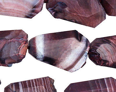 Dark Purple Line Agate Faceted Freeform Slab 29-45x23-35mm