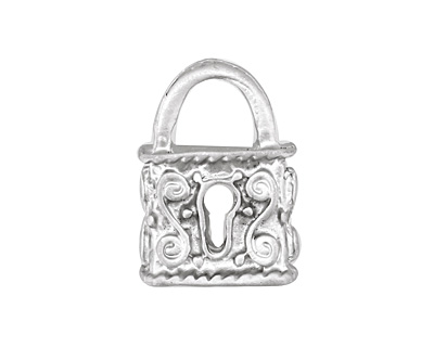 Ezel Findings Rhodium (plated) Double Sided Padlock Pendant 16x23mm