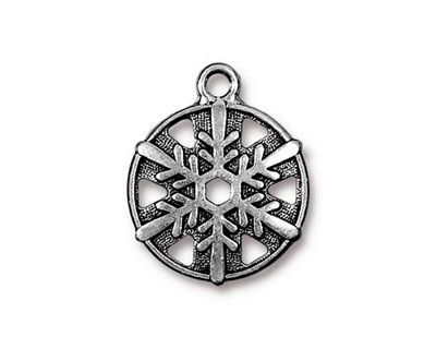 TierraCast Antique Silver (plated) Snowflake Drop 19x24mm