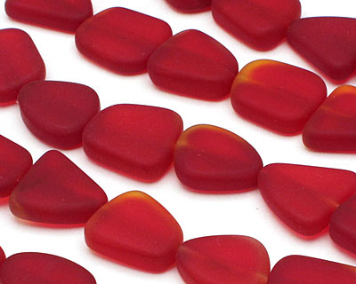 Cherry Red Recycled Glass Flat Freeform 15x13-15mm