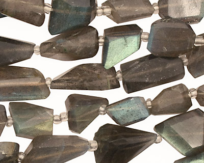 Labradorite Faceted Flat Nugget 12-18x6-12mm
