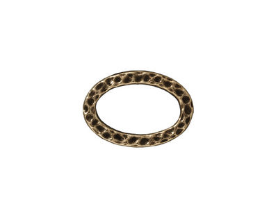 TierraCast Antique Brass (plated) Hammertone Oval Ring 18x12mm