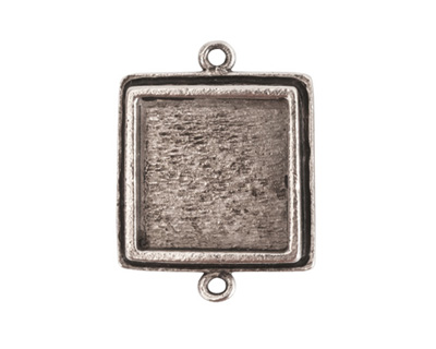 Nunn Design Antique Silver (plated) Traditional Square Bezel Pendant Link 28x21mm