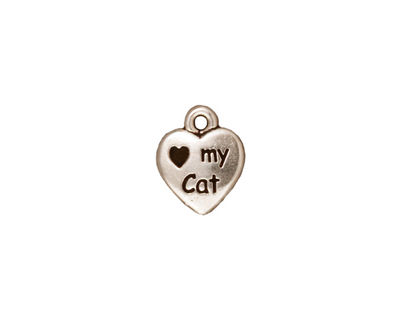 TierraCast Antique Silver (plated) Love My Cat Charm 10x12mm