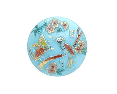 Czech Glass Autumn Lovebirds Button 22mm