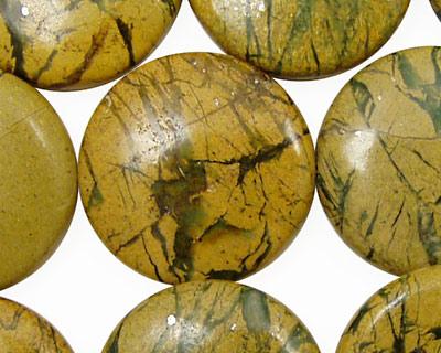 Green Vein Jasper Puff Coin 25mm
