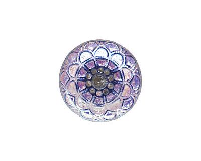 Czech Glass Frosted Tanzanite Mandala Button 18mm